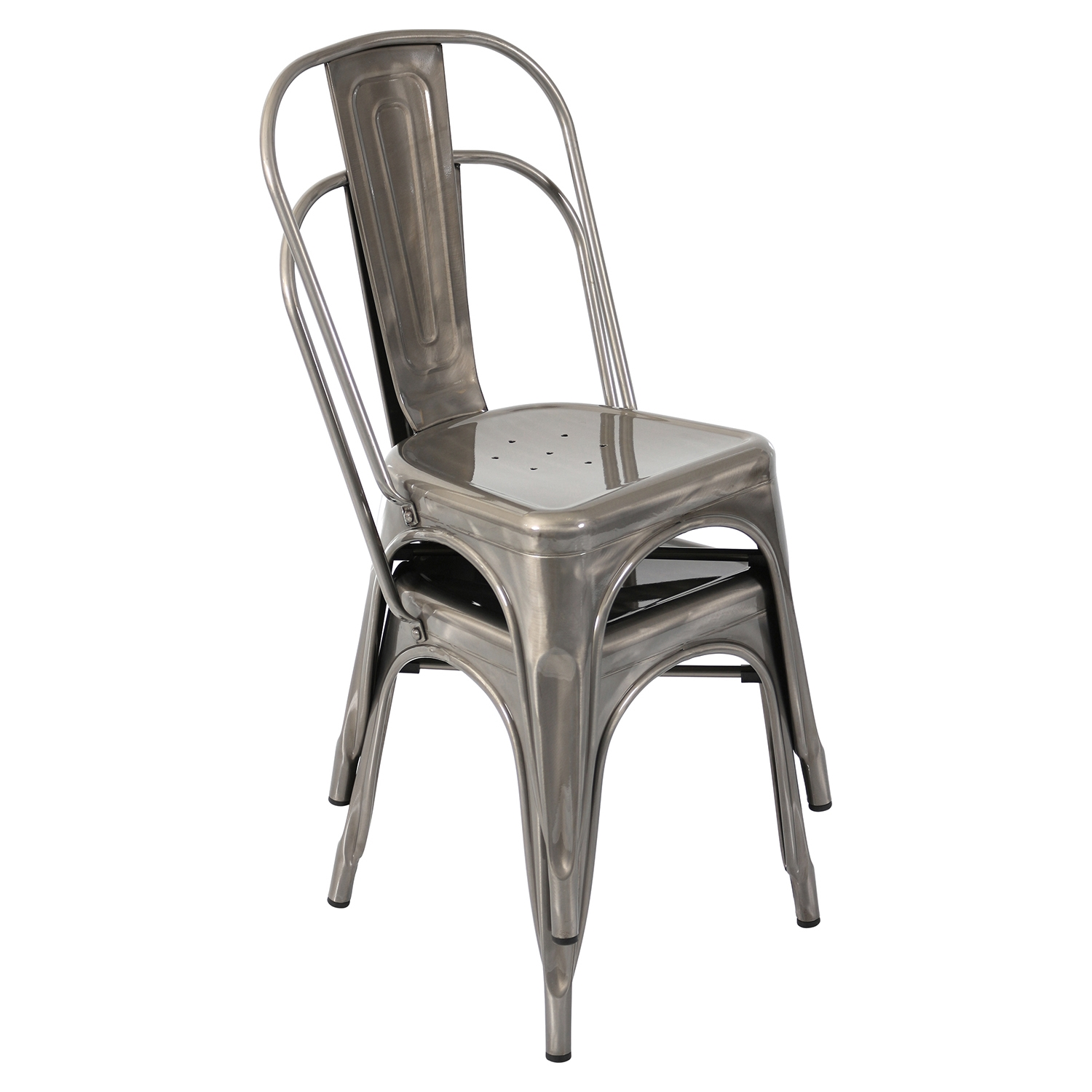 Oregon Stackable Dining Chair - Brushed Silver (Set of 2) - LMS-DC-TW-OR-SV2