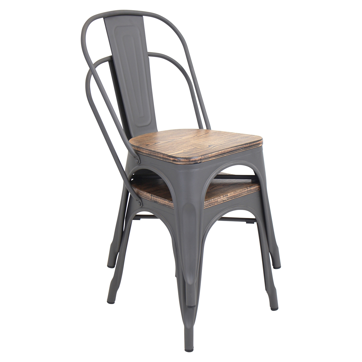 Oregon Stackable Dining Chair - Gray (Set of 2) - LMS-DC-TW-OR2
