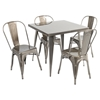 Austin Square Dining Table - Brushed Silver - LMS-DT-TW-AU3232-SV