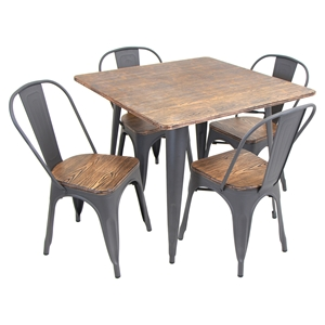 Oregon 5-Piece Dining Set - Grey, Square Table