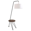 Stork Floor Lamp with Table Accent - Walnut, White - LMS-LS-STORK-WL-W