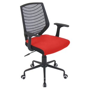 Network Height Adjustable Office Chair - Swivel, Black, Red