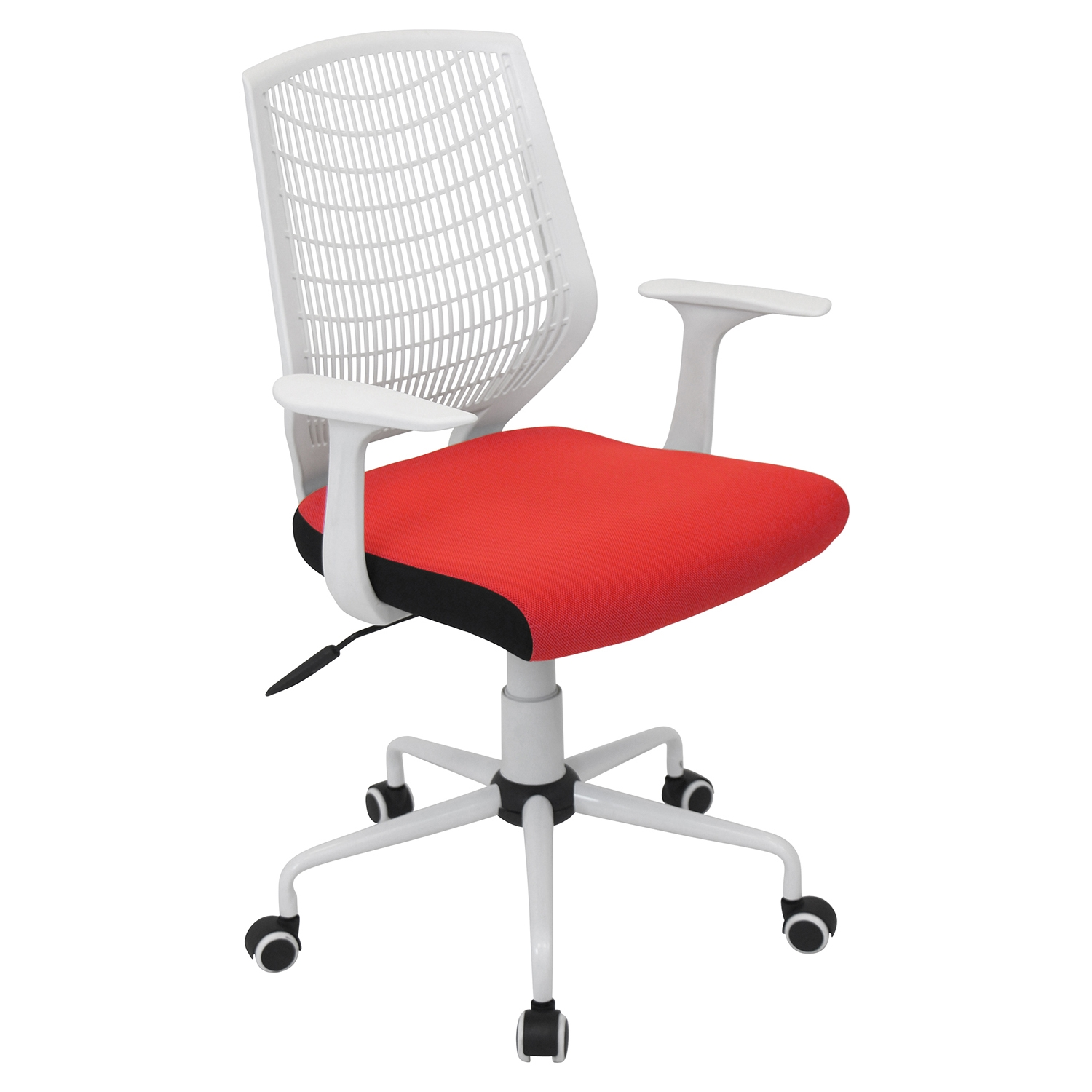 Network Height Adjustable Office Chair - Swivel, White, Red - LMS-OFC-NET-W-R