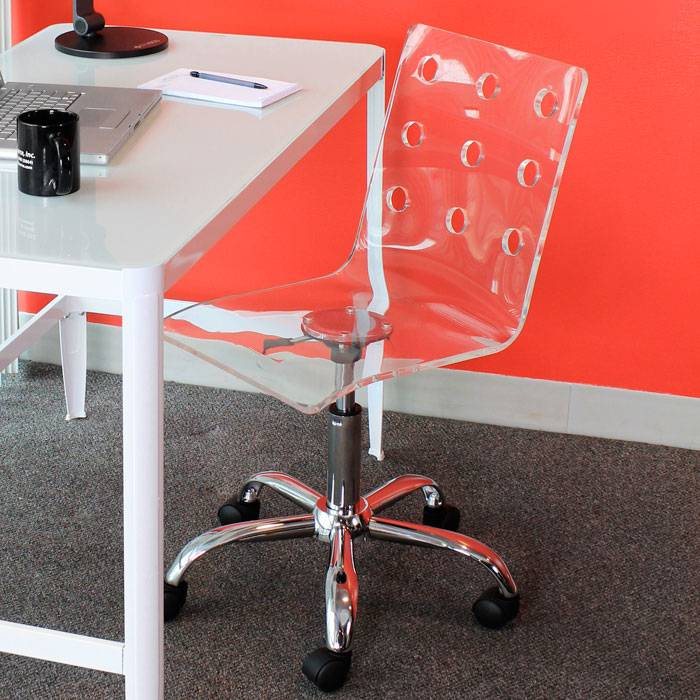 ... Swiss Clear Acrylic Office Chair   LMS OFC TW SWISS CL