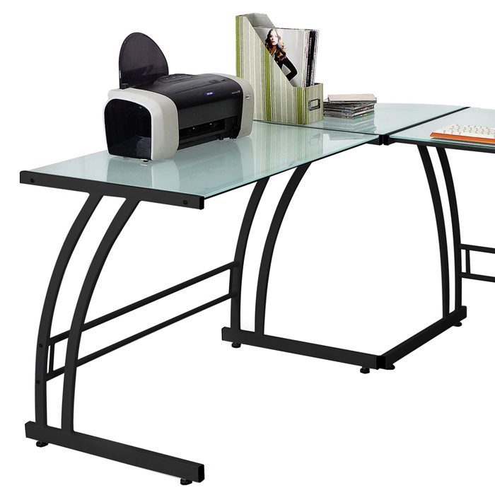 Gamma Corner Office Desk - Glass Top, Black Metal Frame - LMS-OFD-TM-BITDBL-B