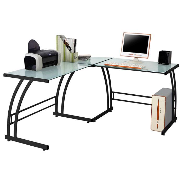 Gamma Corner Office Desk   Glass Top, Black Metal Frame   LMS OFD  ...