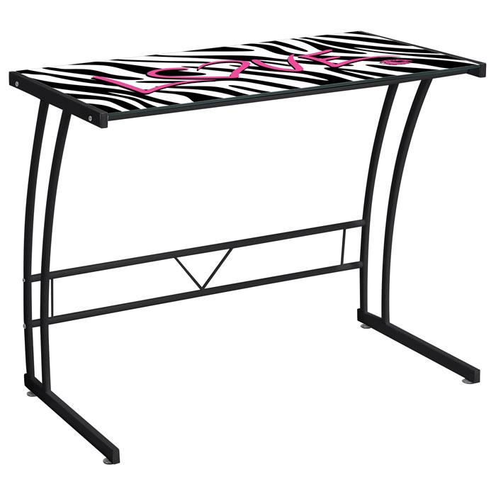 Zebra Print Glass Top Office Desk Metal Frame Dcg Stores