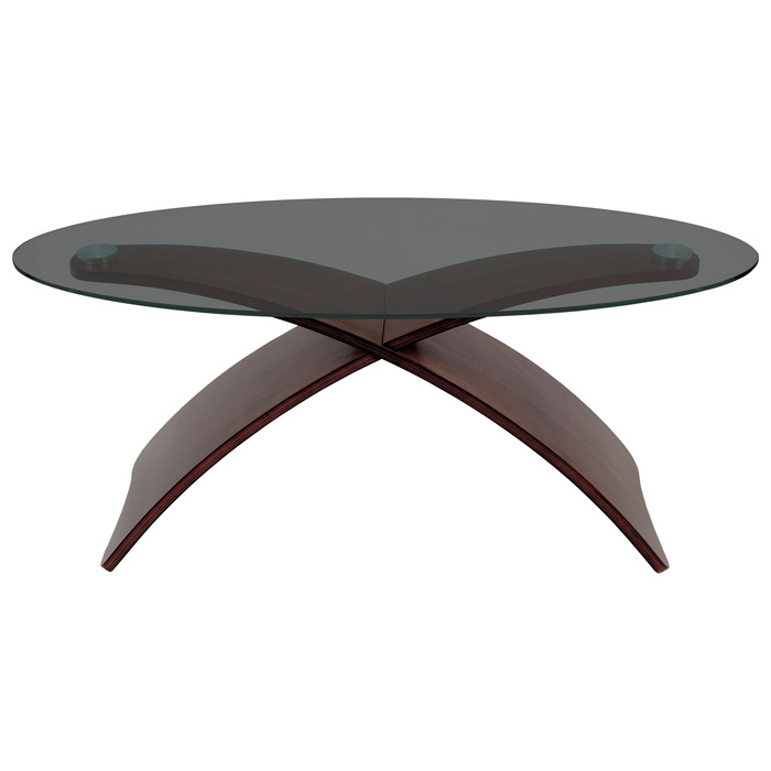 Criss Cross Oval Glass Top Coffee Table With Wooden Legs   LMS TB SW ...