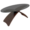 Criss Cross Oval Glass Top Coffee Table with Wooden Legs - LMS-TB-SW-CFCRS