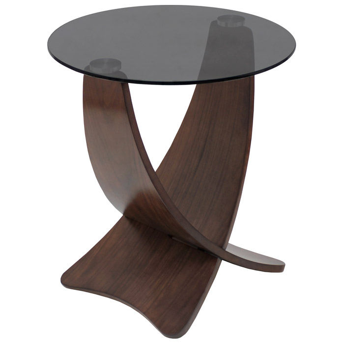 Criss Cross Round Glass Top End Table With Wooden Legs