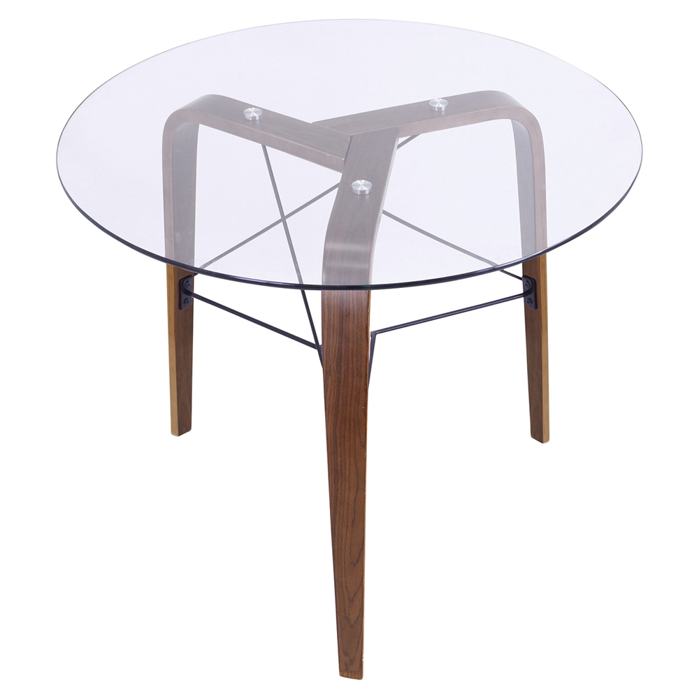 Trilogy Round Dining Table Walnut Frame Clear Glass