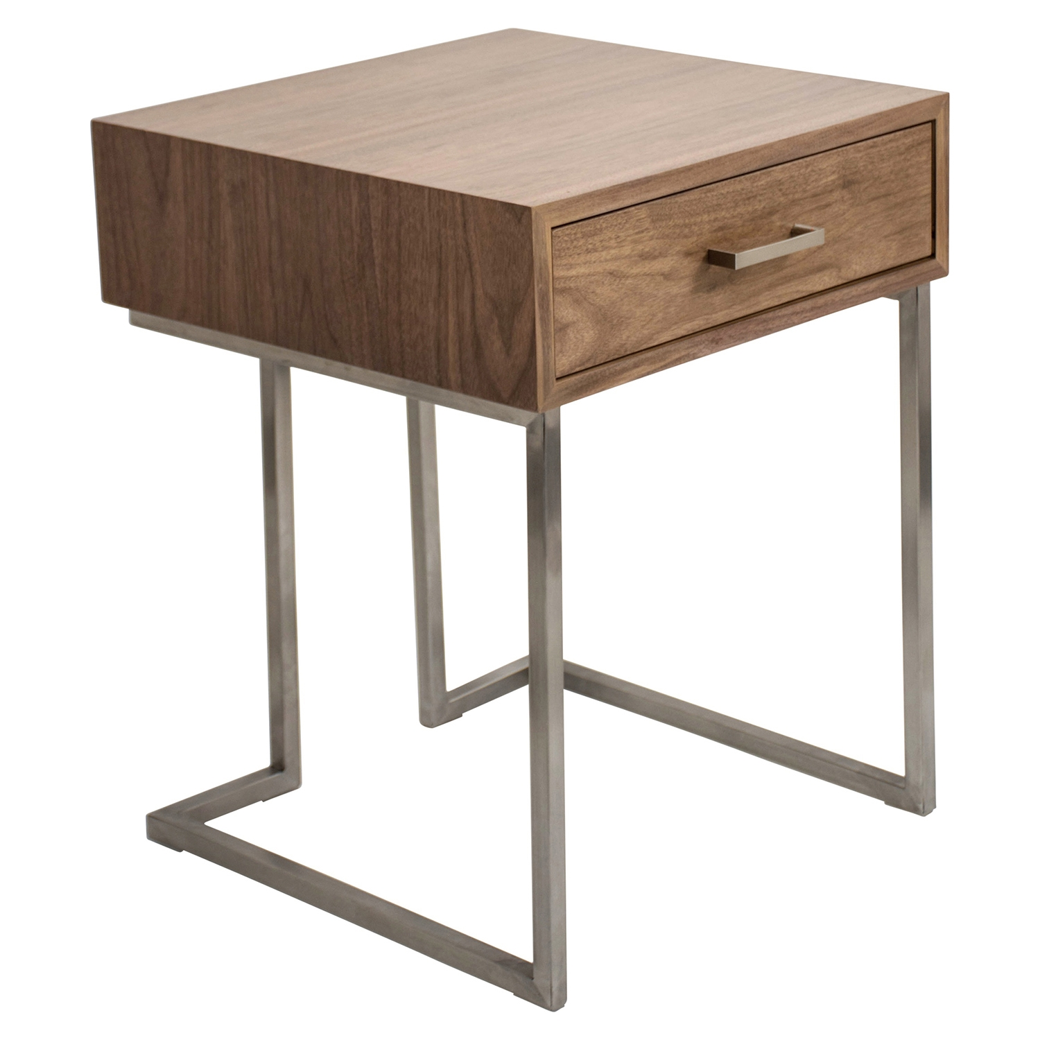 Roman End Table - Walnut, Stainless Steel Silver - LMS-TBE-RMN-WL-SS