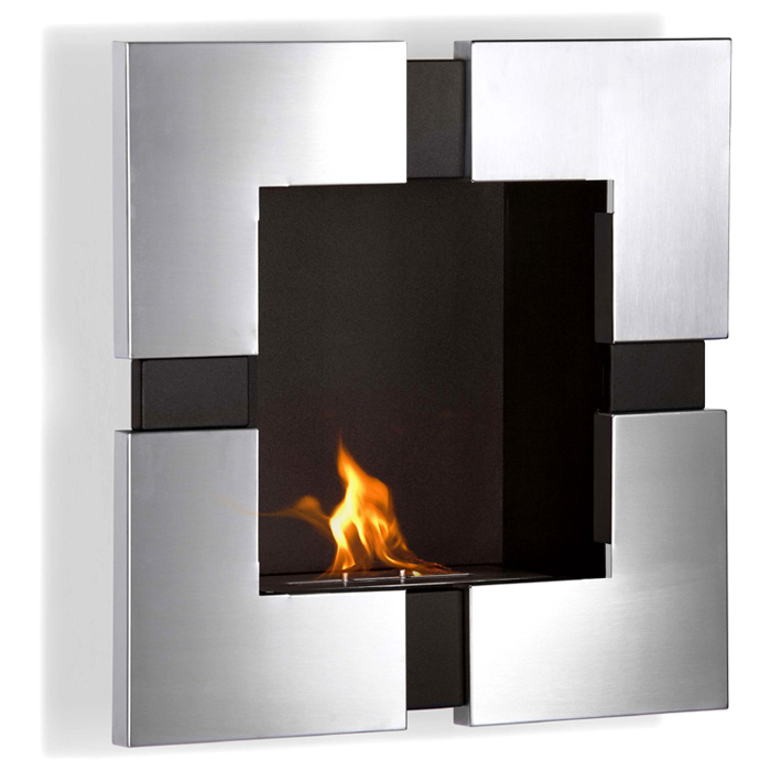 Elm Wall Mounted Ethanol Fireplace - Stainless Steel, Black - MODA-GF101200