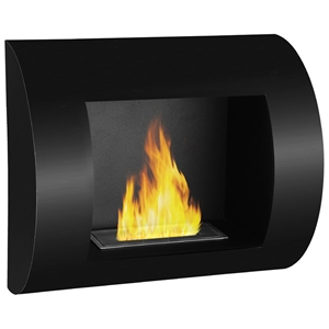 Leon Wall Mounted Curved Ethanol Fireplace - Black