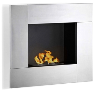 Reus Wall Mounted Ethanol Fireplace - Stainless Steel