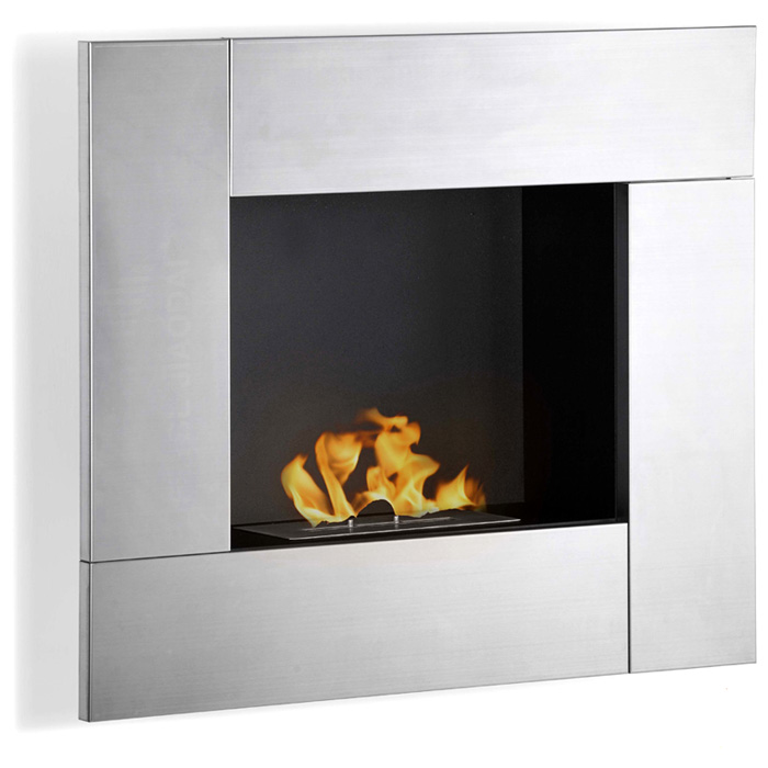 Reus Wall Mounted Ethanol Fireplace - Stainless Steel - MODA-GF102150