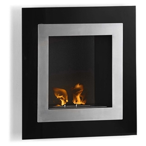 Roa Wall Mounted Fireplace - Stainless Steel, Black, Portrait