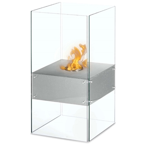 Cella Freestanding Floor Ethanol Fireplace - Glass, Stainless Steel