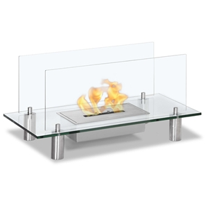 Baza Freestanding Floor Ethanol Fireplace - Tempered Glass
