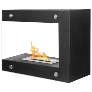 Coria Freestanding Floor Ethanol Fireplace - Tempered Glass, Black