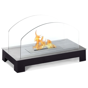 Rota Table Top Ethanol Fireplace - Arched Glass, Black Base