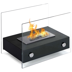 Elda Table Top Ethanol Fireplace - Tempered Glass, Black