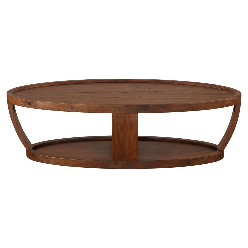 Dylan Oval Coffee Table Lower Shelf Rustic Walnut Dcg Stores
