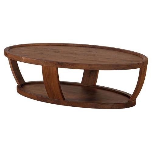 Rustic Wood Oval Coffee Table: Dylan Oval Coffee Table - Lower Shelf, Rustic Walnut