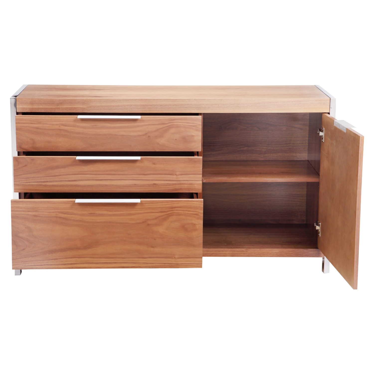 Neo Small Sideboard - 3 Drawers, 1 Door, Walnut - MOES-ER-2004-21