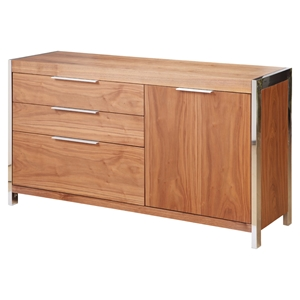 Neo Small Sideboard - 3 Drawers, 1 Door, Walnut