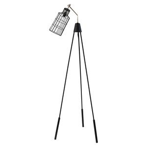 Desi Floor Lamp - Black, Silver Neck