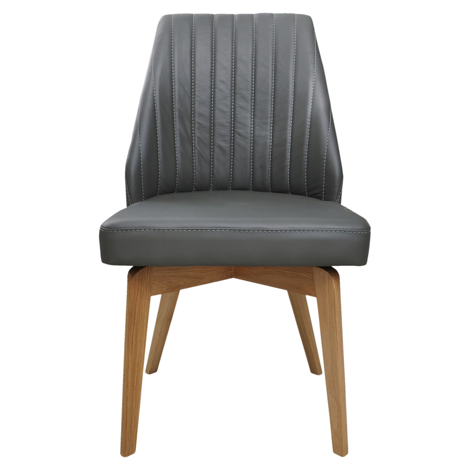 Nadine Leather Side Chair - Gray (Set of 2) - MOES-GO-1001-25
