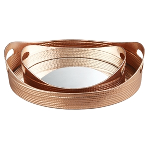 Basket 2 Pieces Tray - Gold