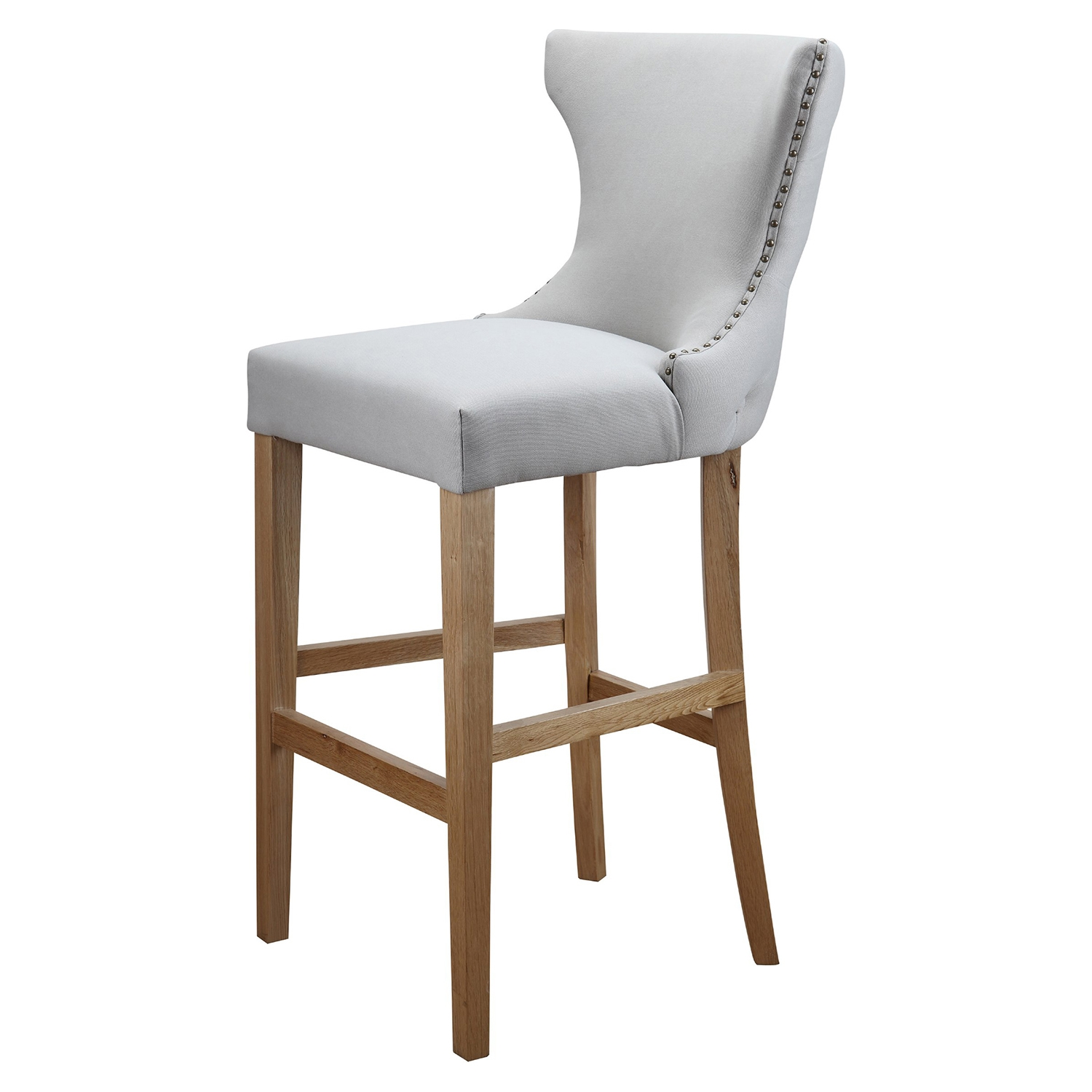 Bruna Counter Stool - Nailhead, Button Tufted, Cappuccino - MOES-ME-1021-14