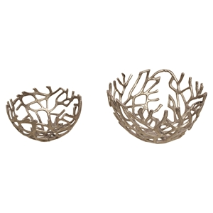 Branch 2 Pieces Bowl - Silver