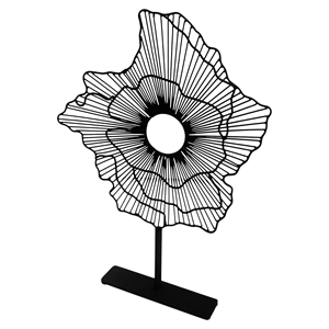 Deco Small Flower on Stand - Black