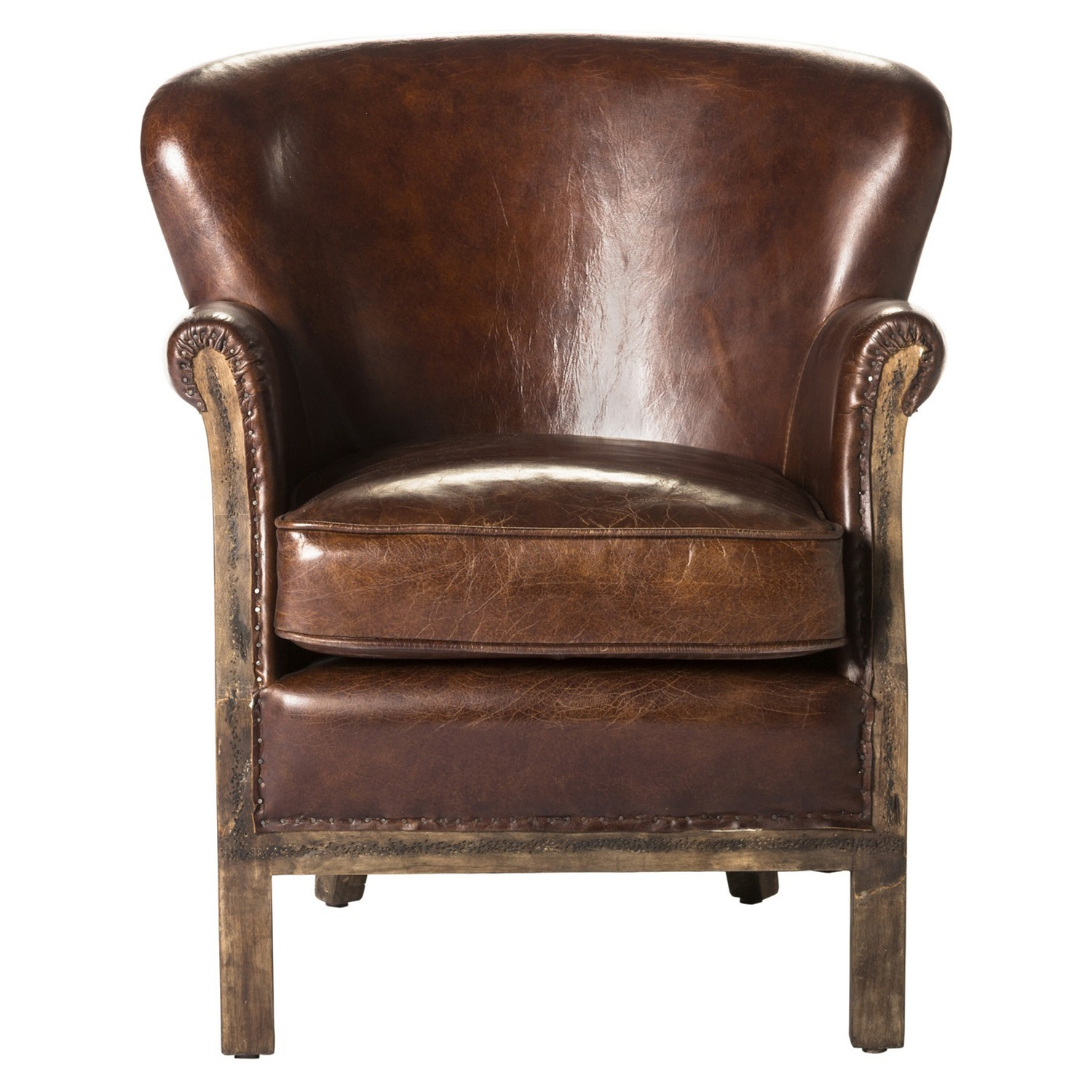 Abbey Leather Club Chair - Brown - MOES-PK-1039-20