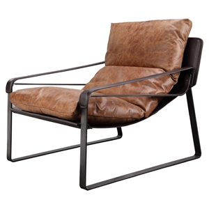 Connor Leather Club Chair - Brown