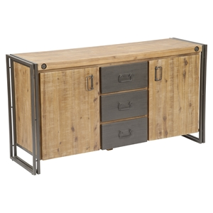 Brooklyn 3 Drawers Sideboard - Doors, Dark Brown