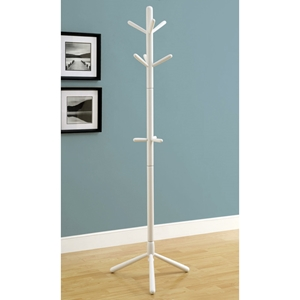 Glory Contemporary Coat Rack - Wood, White Finish