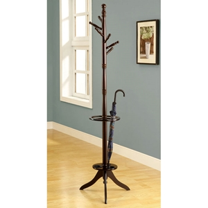 Divine Wood Coat Rack with Umbrella Holder - Cappuccino