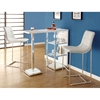 Clairvoyant Bar Table - Three Shelves, Chrome & Glossy White - MNRH-I-2343