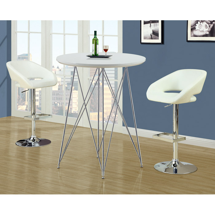 Soiree Adjustable Swivel Bar Stool - Chrome, White - MNRH-I-2306