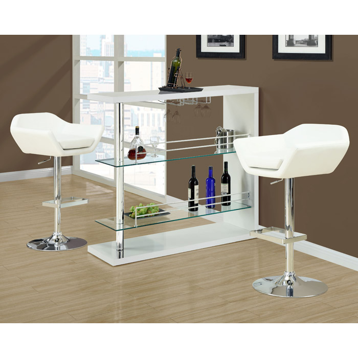 Shindig Adjustable Swivel Bar Stool - Chrome, White (Set of 2) - MNRH-I-2308