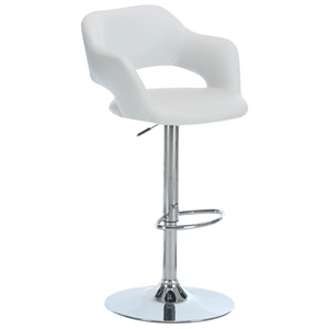 Euphoria Adjustable Bar Stool with Arms - Chrome, White