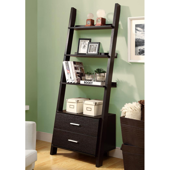 Dulcet Ladder Style Bookcase 2 Drawers Cappuccino Dcg