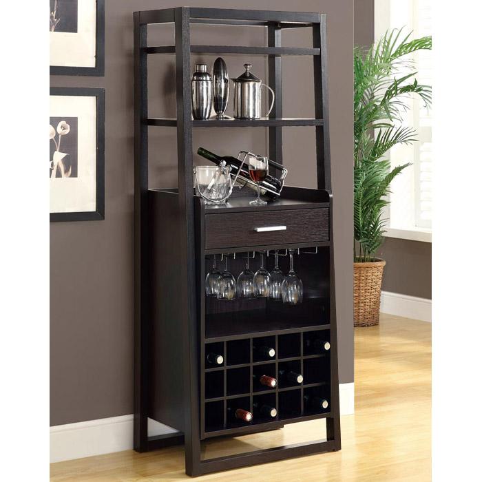 Dulcet Tall Wine Rack - Open Shelves, Cappuccino