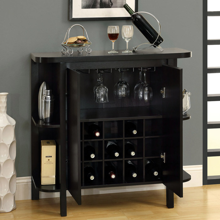 Dulcet Bar Cabinet - Wine Rack, Side Shelves, Cappuccino | DCG Stores