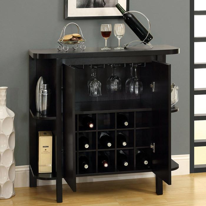 ... Dulcet Bar Cabinet   Wine Rack, Side Shelves, Cappuccino   MNRH I