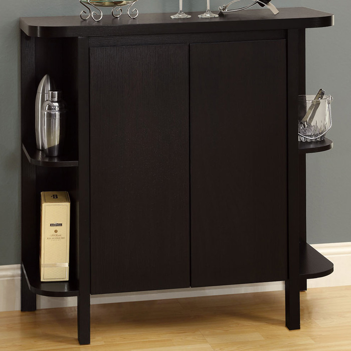 Dulcet Bar Cabinet   Wine Rack, Side Shelves, Cappuccino